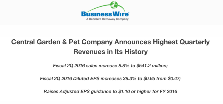 central garden pet company announces highest quarterly revenues in its history walnut creek - Central Garden And Pet